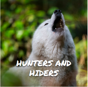"""photo of a white wolf howling with the caption """"Hunters and Hiders"""" in front of it"""
